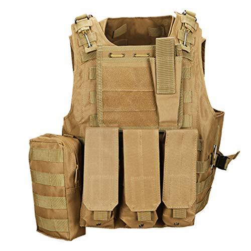 QHIU Chaleco Tácticos Militar Combate Camo Protección Molle para Airsoft Paintball Caza CS SWAT Juego de Guerra Deportes al Aire Libre con Herramienta de Bolsillo