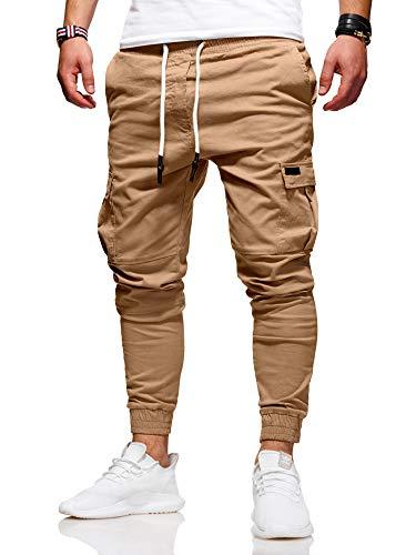 behype. Herren Cargo Chino-Hose Jogger Jeans-Hose 80-8393 Beige W32