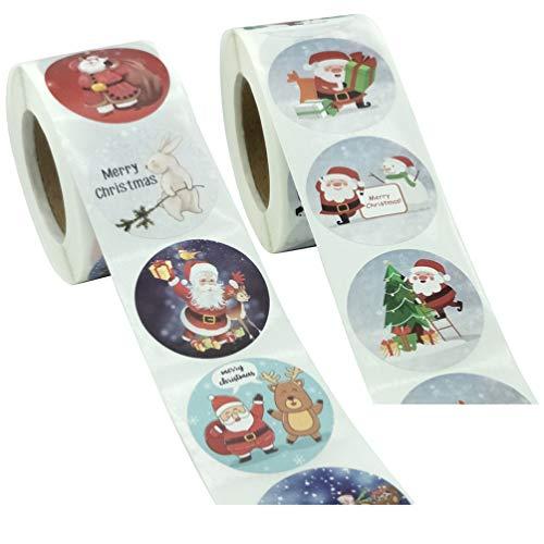 KESYOO ギフトシール クリスマス 封印シール 粘着ステッカー クリスマスステッカー 自己接着 防水ステッカー 菓子屋 贈り物 円型 業務用 2ロール