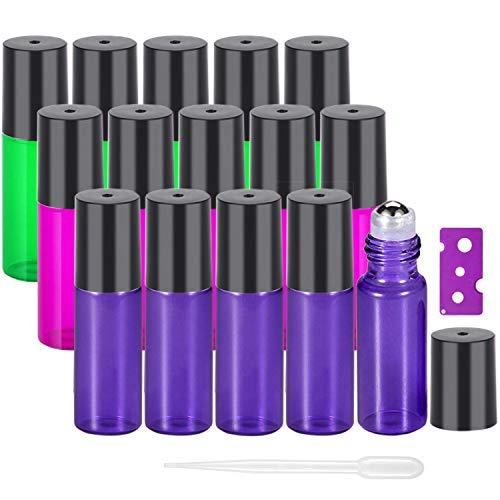 Yalbdopo - Bottiglie a rullo per oli essenziali da 5 ml, in vetro, ricaricabili, con sfere in acciaio inox e coperchi neri, perfette per aromaterapia, oli essenziali, fragranze (3 colori)