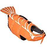 Dog Life Jacket Funny Cute Style Adjustable Floatation Dog Life Vest for Small, Middle, Large Dogs with Handle (S,3 Shrimp)