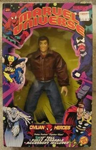 1998 PETER PARKER 10 INCH MARVEL UNIVERSE CIVILIAN HEROES POSEABLE FIGURE by TOY BIZ