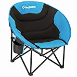 KingCamp Camping Chair Oversized Padded Moon Round Saucer Chairs Camping Folding Chair with Cup Holder,Storage Bag,Carry Bag for Camping, Hiking Fishing Sports Balck&Royablue Camping Chair