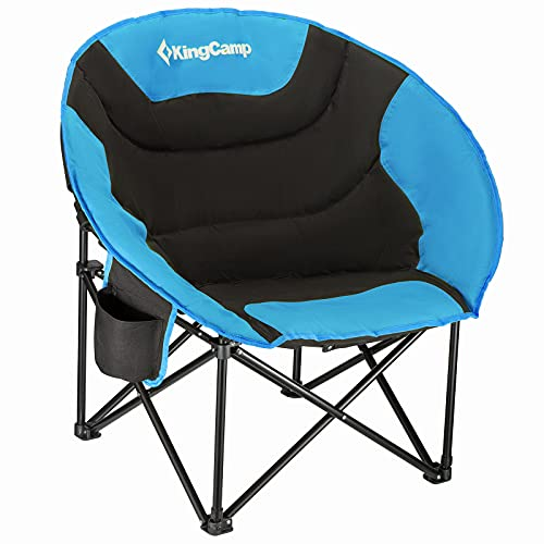 KingCamp Camping Chair Oversized Padded Moon Round Saucer Chairs Camping Folding Chair with Cup...