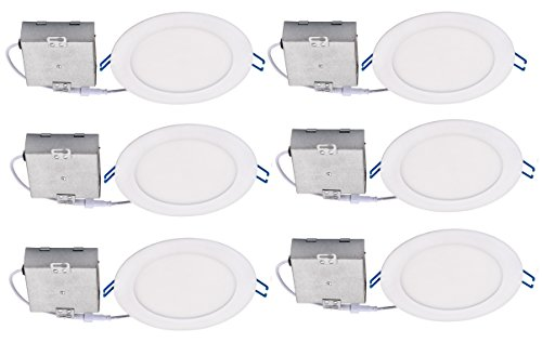 """Topaz Lighting (Pack of 6) 77233 Slim 6"""" Dimmable Recessed Ceiling Downlight, 3000K, White, Easy to Install, Save Time and Money, Energy Efficient LED Lighting"""