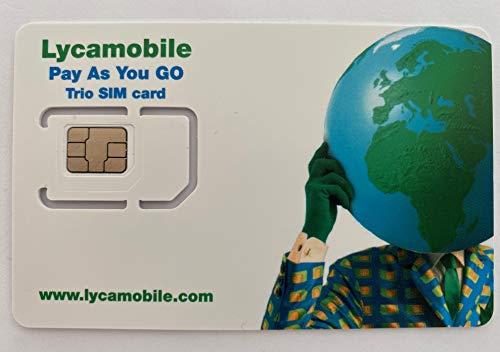 beachsim Lycamobile USA SIM-Karte Prepaid (inkl. Hawaii & Puerto Rico) - Mobile Daten 4G / LTE, Unbegrenzte Nationale & Internationale Anrufe + SMS (10GB für 60 Tage (5GB je 30 Tage))
