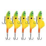 zhoul - 5 señuelos de Pesca Luminosos, Ojos 3D, señuelos de Pesca con Forma de pez Artificial, Cebo simulado con Anzuelo, Plantillas de Pesca en Hielo, anzuelos triples