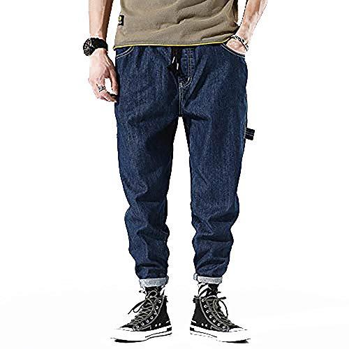 Xqkj Baggy Jeans de moda de pierna pequeña para hombre pantalones vaqueros holgados con cordones Harlem, azul oscuro, 2XL (36)