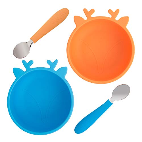 Elk and Friends Toddler Baby Bowls + Spoons | Cereal Bowls | Kids Safe | Baby Led Weaning | Kids Dinnerware Sets