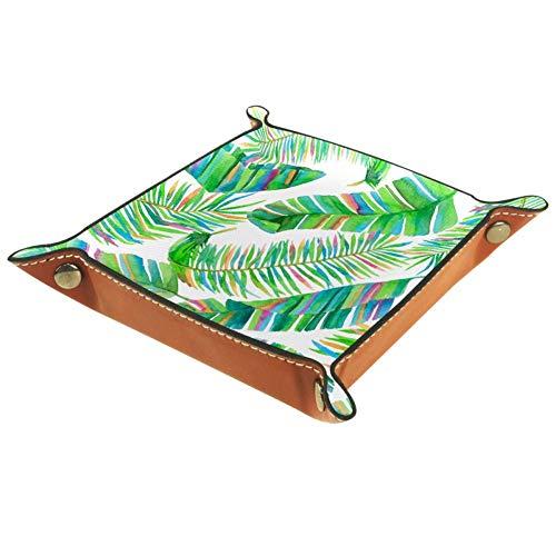 XiangHeFu Colorida Planta de Selva Tropical de Hoja de Palma Monedero con Cambio de Llave Caja de Almacenamiento de Cuero Catchall Organizador de Escritorio pequeño Bandeja de Valet