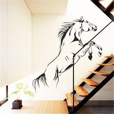 Mode Schoonheid Materiaal Springen Paard muur Art Stickers Vinyl-decal Stijlvolle Home Graphics Lounge Slaapkamer