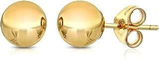 Premium 14K Gold Ball Stud Earrings- Butterfly Backings 3mm-8mm Yellow White or Rose