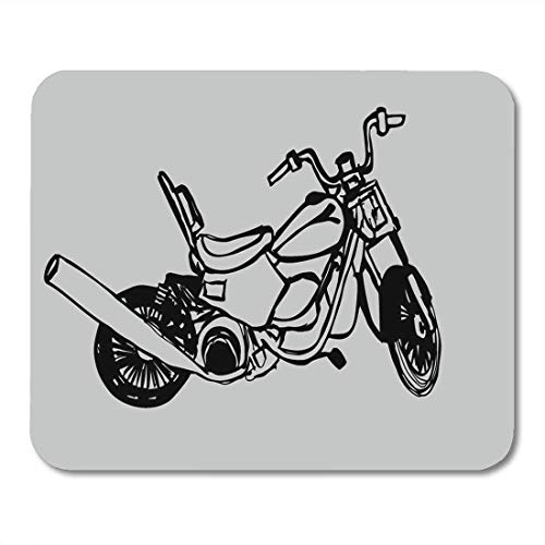 Mauspads Antike schwarze Davidson Motorrad Grafik Harley Bike Biker Cafe Mauspad für Notebooks, Desktop-Computer Matten Büromaterial