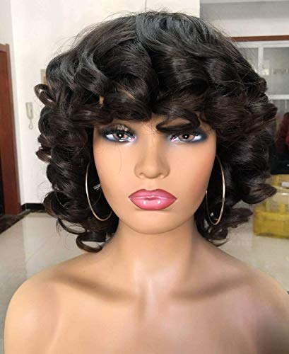 Short Afro Curly Wigs with Bangs for Women Kinky Curly Hair Wig for Black Women Big Bouncy Fluffy Curly Wig #2 (More Natural Color than Black)…