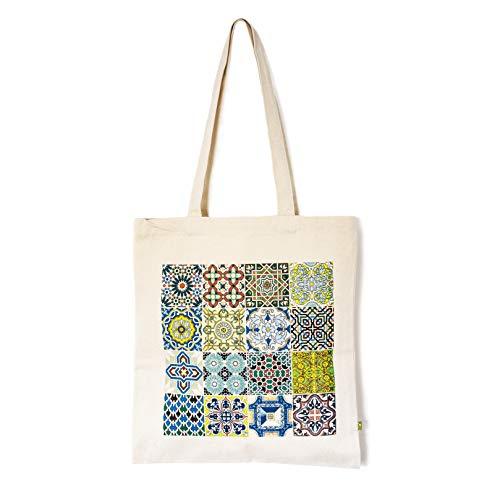 Designer Souvenirs | Bolso de Loneta con Diseño Azulejos | Bolsa de la Compra Reutilizable con Estampado - Tote Bag | 100% algodón orgánico