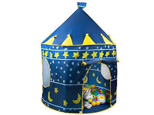 ISO TRADE Kinderzelt Spielzelt Spielhaus Blau Schloss Zelt Kinder Neu #1163