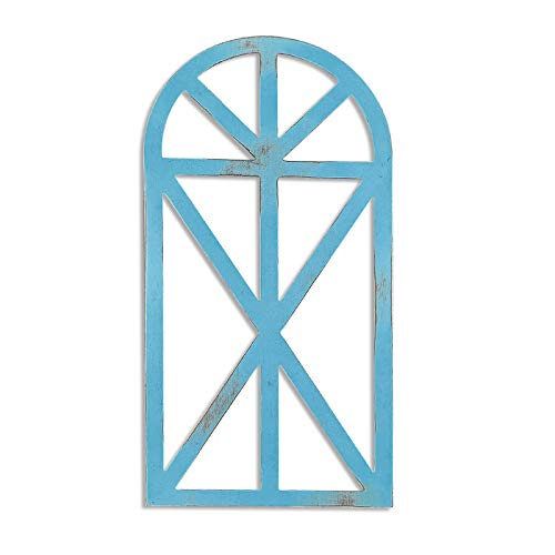 1 Pcs Antique Design Rustic Wood Window Frame for Wall Decor,31''*16''*1.2''Arch Window Frame,Cottage Decor,Wall Decor,Farmhouse Wall Art Home Decoration (Blue)