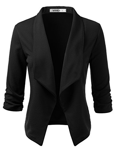 Doublju Women's Classic Draped Open Front Lightweight Blazer with Plus Size Black 2X