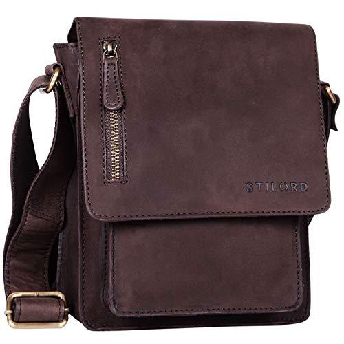 STILORD 'Finn' kleine Umhängetasche Herren Schultertasche Vintage Messenger Bag 8,4 Zoll Tablettasche echtes Büffel-Leder, Farbe:matt - Dunkelbraun