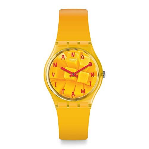 Swatch Unisex Erwachsene Analog Quarz Uhr mit Silikon Armband GO119
