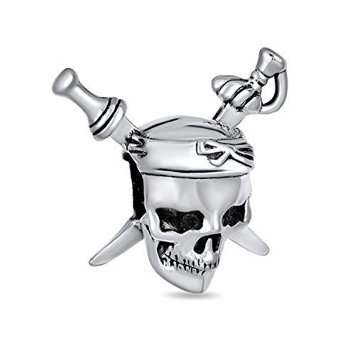 Caribe pirata cráneo y cruz espadas encanto cuenta para las mujeres para adolescente 925 plata de ley se adapta pulsera europea