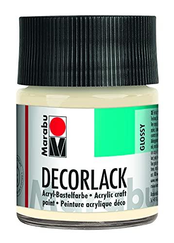 Marabu 11300005271 - Decorlack Acryl Elfenbein 271, 50 ml, hochglänzender Acryllack auf Wasserbasis, wetterfest, speichelfest, zum Malen, Schablonieren und für Serviettentechnik