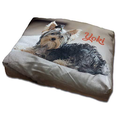 Cama para Perros Personalizada con Foto. 45X35 cm. 7 tamaños. Cojin para Perros Personalizado Lavable, Resistente y extraíble. Perros Mini, pequeños, Gatos, Cachorros y Otras Mascotas.