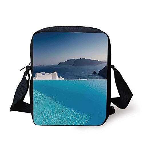 House Decor,Luxury Resort Swimming Pool in Santorini Greece Mediterranean Panorama Photo, Print Kids Crossbody Messenger Bag Purse