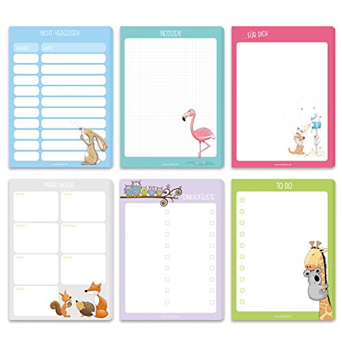 6 Notizblöcke DIN A6 mit 50 Blatt einseitig bedruckt - Notizen, Nicht vergessen, Wochenplaner, Einkaufsliste, to-do-Liste,