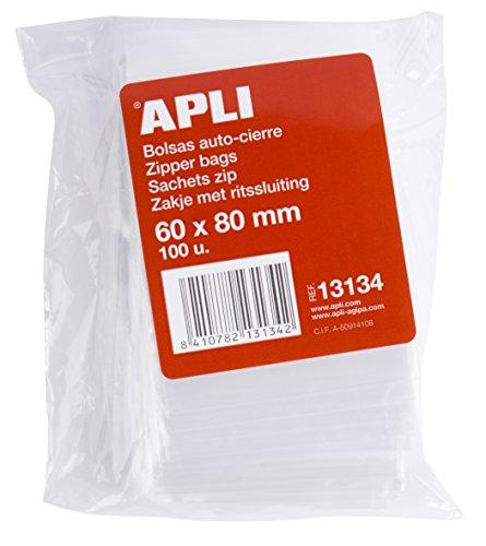 APLI 13134 - Pack de 100 bolsas de plástico con autocierre, 60 x 80 mm