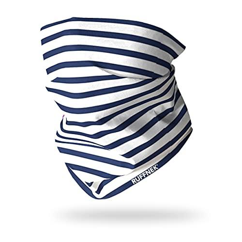 Ruffnek Écharpe tour de cou multifonction à rayures Bleu Taille unique pour homme, femme et enfant
