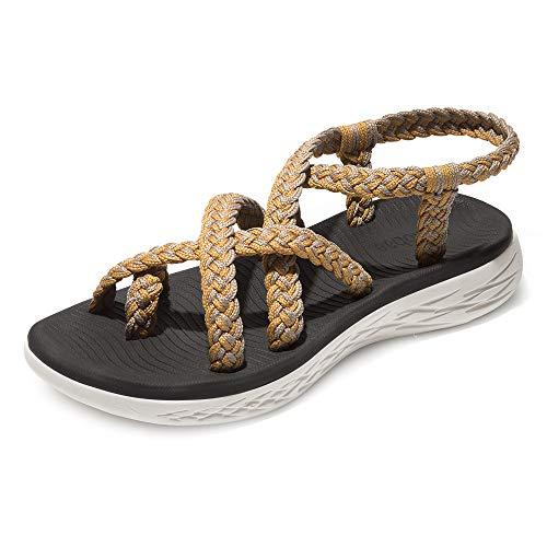 chitobae Comfortable Lightweight Soft Strappy Flat Sandals for Women(7 M US, Orange Grey/Black Bottom)