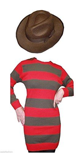 Freddy Horror Style Damen Kostüm rot gestreift Pullover & Hut Halloween Verkleidung Gr. Large/X-Large (Oberweite 112 cm), rot / grün