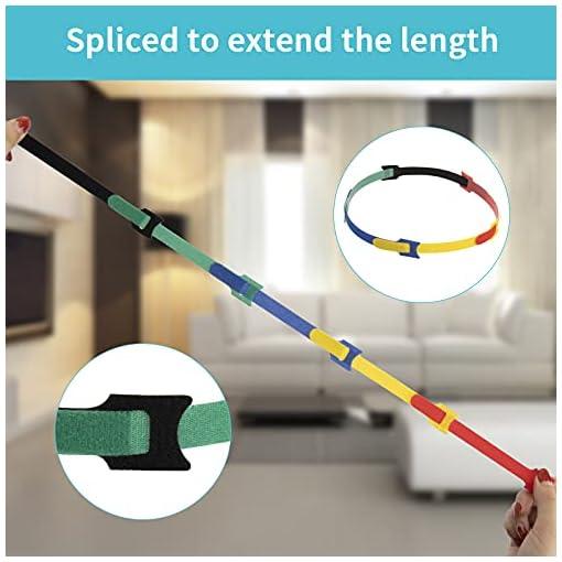 Dapzon 5 colores Bridas Reutilizables, 100 Piezas Ataduras Cables con 3m Nylon Gancho y Lazo Cable Corbatas, Ajustable… 5