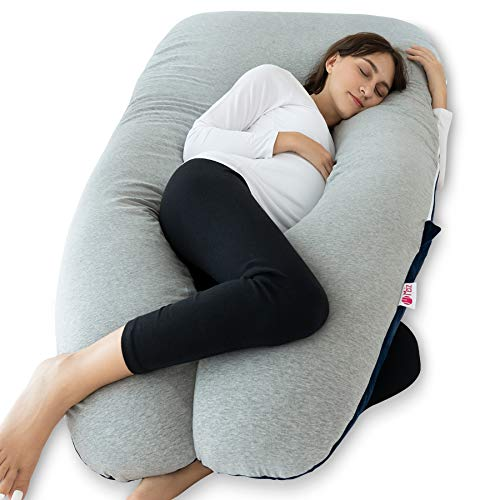 Meiz Pregnancy Pillow with Jersey Cover, Full Body Pregnancy Pillow with Velvet...