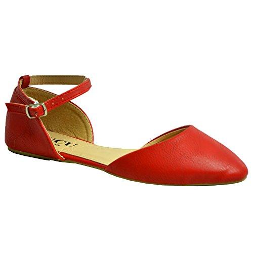 CucuFashion 2017 Bailarinas con correa al tobillo para mujer y niña, de piel sintética, zapatos de tacón planos, zapatos de ballet casuales de verano, tallas 36 a 38, color Rojo, talla 39 EU