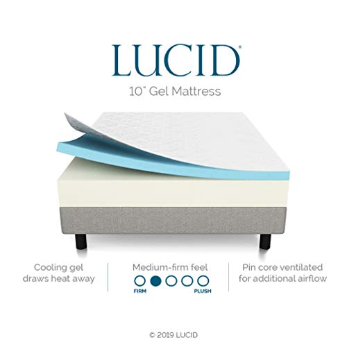 LUCID 10 Inch Gel Memory Foam Mattress - Medium Feel - CertiPUR-US Certified - 10-Year Warranty - King