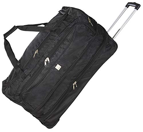 Bon Goût Expandable Trolley Duffel Bag with Shoe Compartment and Hidden Pocket Large 81L to 92L Capacity Black