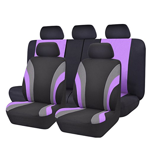 NEW ARRIVAL- CAR PASS Line Rider 11PCS Universal Fit Car Seat Cover -100% Breathable With 5mm Composite Sponge Inside,Airbag Compatible (Black And Purple)