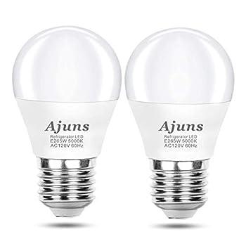 LED Refrigerator Light Bulb 40W Equivalent 120V Freezer Waterproof Light Bulbs Energy-Saving A15 Appliance Fridge Light Bulbs,5W Daylight Color 5000K E26 Medium Base Non-Dimmable 2 Pack