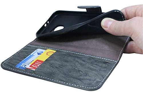 Huawei Ascend Mate S Buchtasche Hülle Case Tasche Wallet BookStyle mit STANDFUNKTION Anthrazit @ Energmix - 4