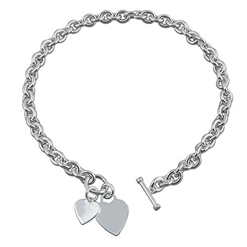 16' Inch Double Heart Charm Tag Sterling Silver Necklace with Toggle Clasp for Women/Teenager/Girls - Heavy (87 Gram) Chunky Belcher Link Necklace with 2 Hearts - 16 Inch/41cm - Engravable