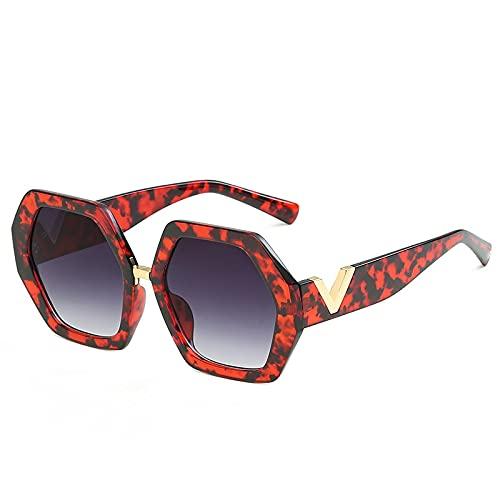 ShZyywrl Gafas De Sol Moda Gafas De Sol Hexagonales Vintage Retro Gradiente Geométrico Marco De PlásticoLetra Piernas Gafas De Sol Soyflowergrey