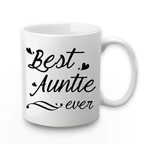 Taza de café con texto en inglés 'Best Auntie Ever', 'Best Auntie Ever', 'Best Auntie Ever', 'Best Auntie Ever', 'Best Auntie Ty, 'Tía de sobrina' con caja de regalo'