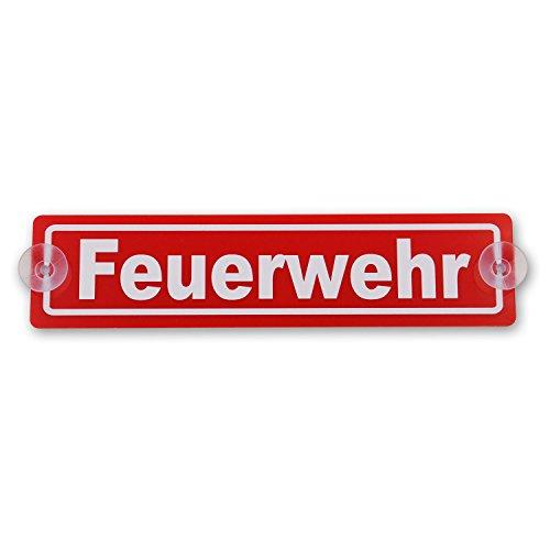 wall-art-design Saugnapfschild Schild Feuerwehr Acrylschild rot 3mm, ca.20x5 cm für Scheibeninnenbefestigung