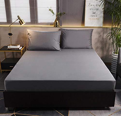 XLMHZP Anti-Ácaros Cubre Colchón,Protector de colchón de Color sólido con Cubierta de colchón Impermeable elástica Blanca/Negra Protector de sábana Ajustable para bebé-A_180x200cm+30cm