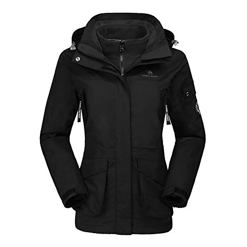 CAMEL CROWN Damen Ski 3-in-1-Jacke 2 Stück Outdoor Wasserdicht Winddicht Fleece Innen Kapuzenmantel, Schwarz, 4XL