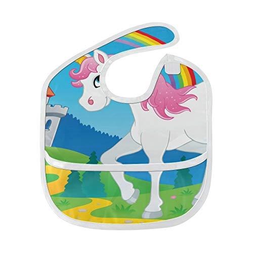 Lätzchen für Jungen Fairy Tale Unicorn Theme Image 2 Vector Illustra Große Babynahrungslätzchen Weicher Fleck Babynahrungsdribbeln Sabbern Lätzchen Rülpsen für Kleinkinder 6-24 Monate