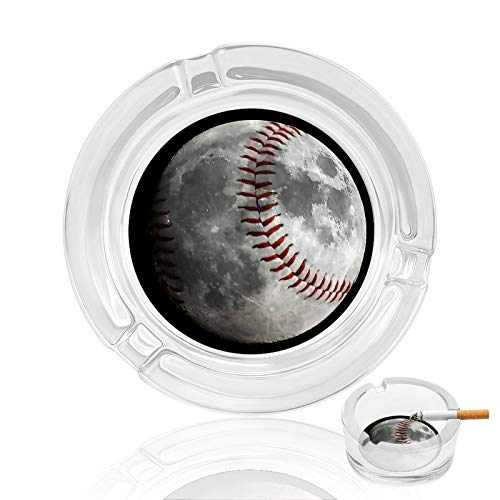 MSACRH Cigar Ashtray Baseball Moon Ash Tray Hotel Table Decoration Funny Outdoor Cigarettes Holder for Smokers Women Anti-Slip Indoor Glass Ashtrays Round with 3 Grooves