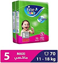 Fine Baby Diapers Green Fast Sorption, Maxi 11-18 Kgs, Mega Pack, 70 Count